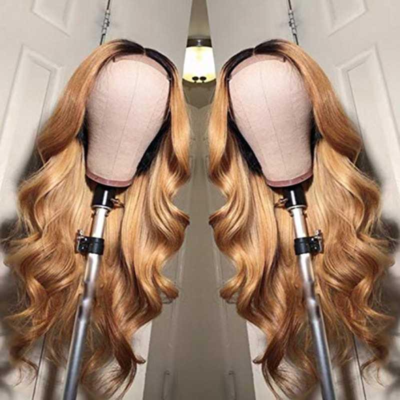 Pelucas del pelo humano del frente del cordón 1B/27 con el pelo ondulado del bebé Pre desplumado del Color brasileño del pelo Remy pelucas nudos de lejía para mujer