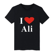 I LOVE ALI White Cotton T-shirt ood looking and Durable I LOVE ALI T-shirt Men Street Wear with High quality