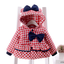 Girls winter coat jacket 2016 new female baby thick plaid jacket bow 1-2-3 years old