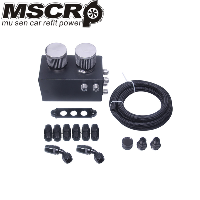 Universal Oil Catch Can Kit Breather Box for Honda Acura Turbo 4 Port-in Fuel Tank from Automobiles & Motorcycles