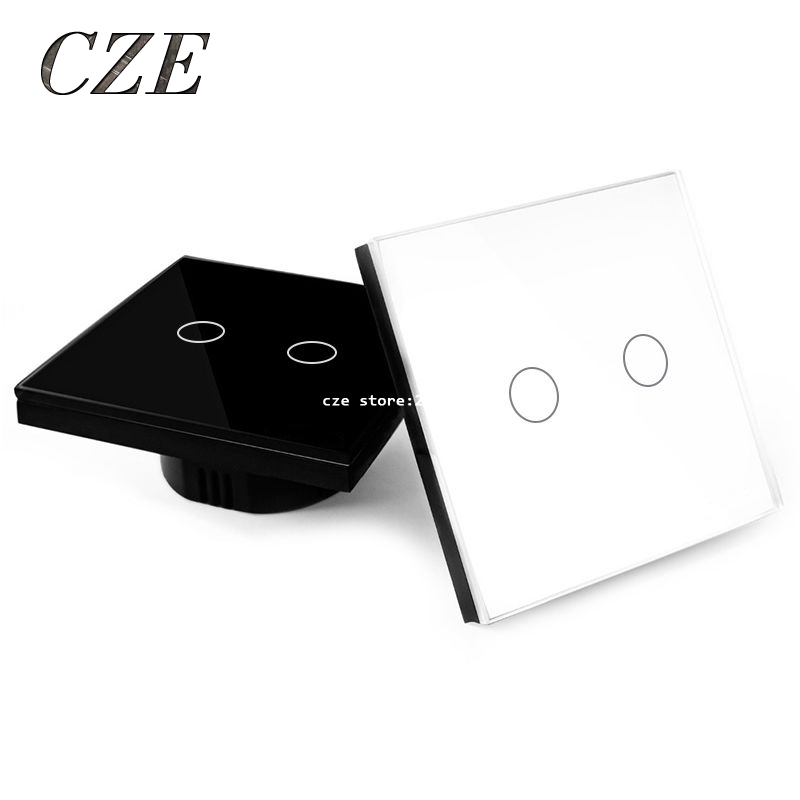EU Standard 2 Gang 1 Way Touch Switch Crystal Glass Panel Wall Light Switches Smart Home Automation Round Type eu us smart home remote touch switch 1 gang 1 way itead sonoff crystal glass panel touch switch touch switch wifi led backlight