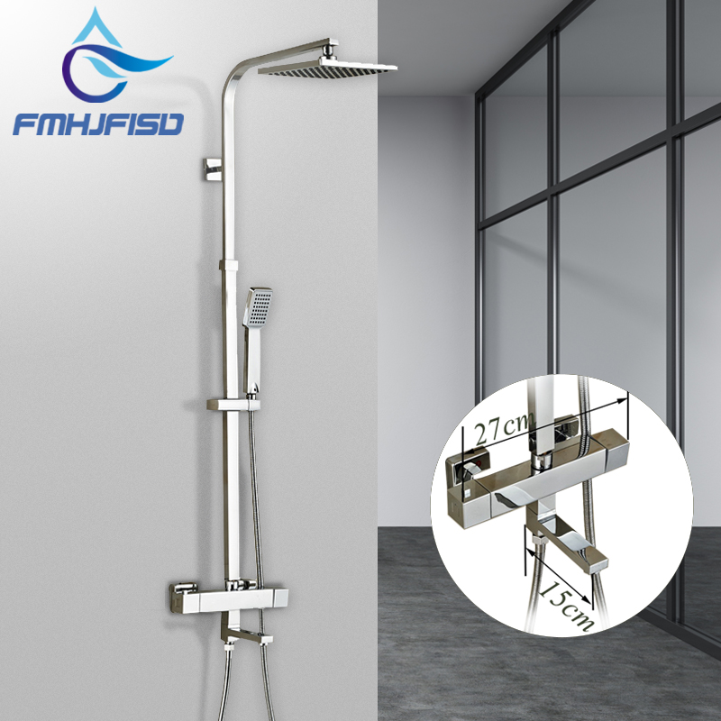 Bathroom Shower Faucet Set Chrome Finished Thermostatic Shower Faucet with 8 ABS Shower Head and Handshower