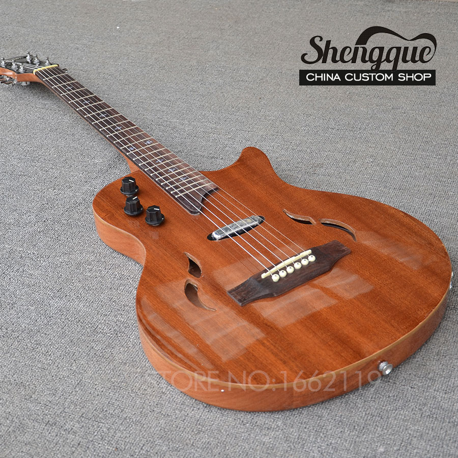 shengque china custom shop top quiality natural wood color electric guitar 6 strings semi hellow. Black Bedroom Furniture Sets. Home Design Ideas
