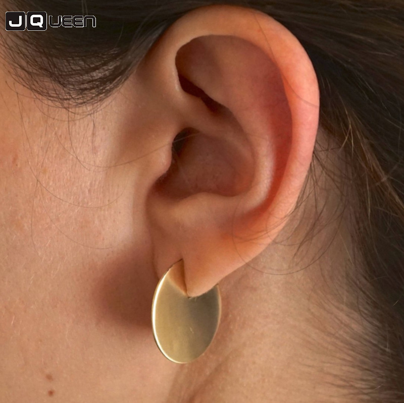 New Punk Style Round Coin Circle Disc Stud Earrings For Women Charms Geometric Statement Earrings Jewelry