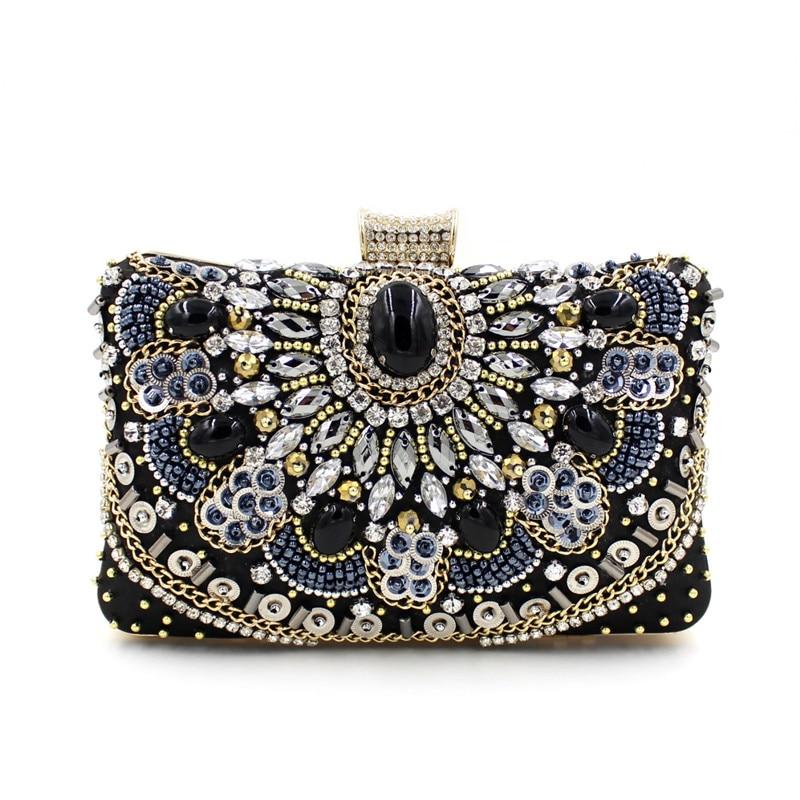 Fashion Crystal Women Evening Bag With Stone Beaded Clutch Bag For Elegant Ladies Banquet Handbag Black Classic Party Purse