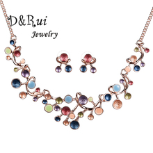 2019 Wedding Jewellery Set Bridal Gold Color Jewelry Sets for Women Charms Enamel Statement Jewelry Necklace Round Stud Earrings недорого