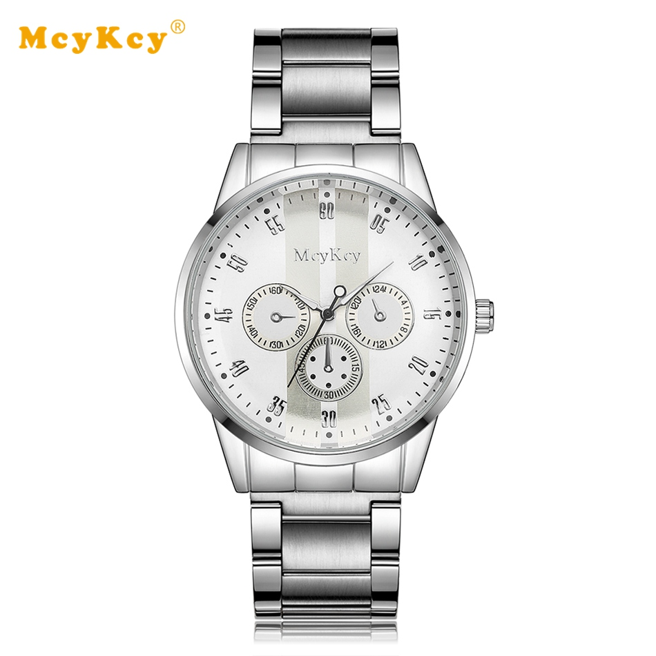 Mcykcy Luxury Business Casual Leather Wristwatch Quartz Silver Men Watches Sports Watch for Men Male Clock Outdoor Gift MY043 new listing men watch luxury brand watches quartz clock fashion leather belts watch cheap sports wristwatch relogio male gift