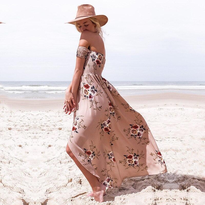 ELSVIOS Women Off Shoulder Floral Print Boho Dress Fashion Beach Summer Dresses Ladies Strapless Long Maxi Dress Vestidos XS-5XL 2