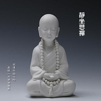 Ceramic ornaments, blessing, a little monk, sitting monk, furnishings, sitting Buddha statue, craft decorations, home decor~