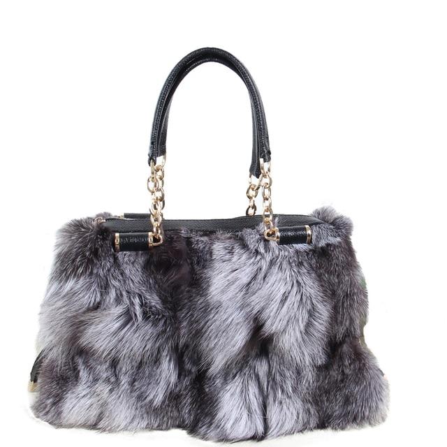 5045c4b3189cf Damskie torebki 2018 zimowe nowe panie torebki prawdziwe futra lisa łańcuch torba  na ramię skos przekątnej