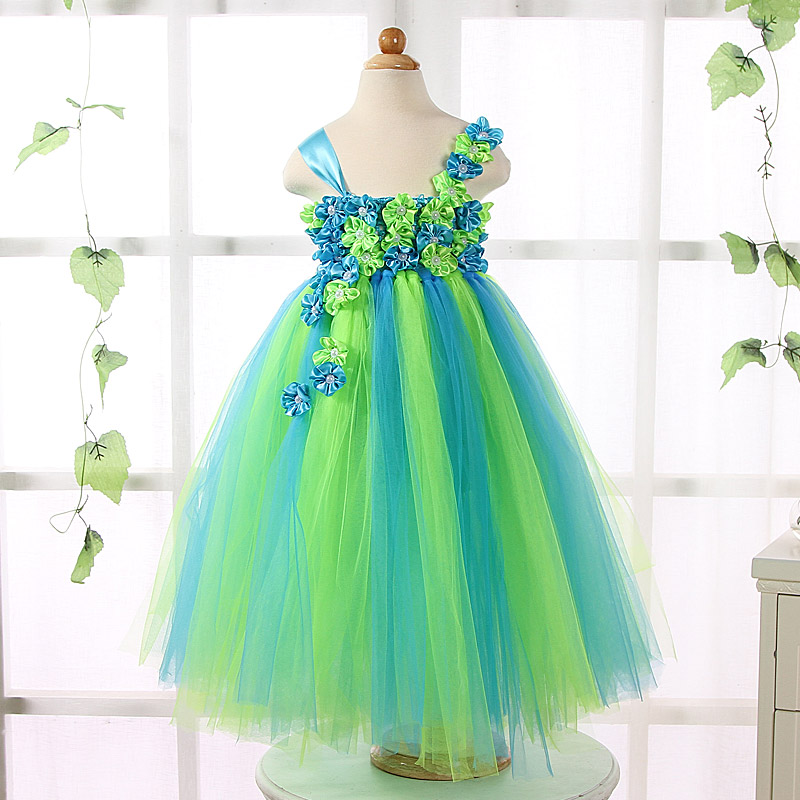 Wedding Flower Girl Dresses For Kids Princess Tutu Dress Baby Girl Pageant Ball Gown Child Birthday Party Tulle Dress Vestidos 2017 mint high low flower girl dress for wedding with long train crystals ball gown kids 1st birthday party outfits baby dresses