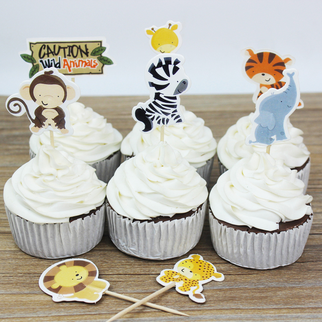 48pcs Wild Jungle Animal Theme Cupcake Topper Party Decoration Zebra Flag Kids Favor Birthday Cake Supplies