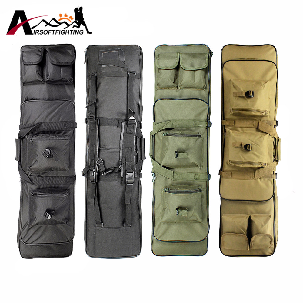 100CM Tactical Dual Rifle Case Gun Bag with Padding Shoulder Strap Airsoft Hunting Paintball Gun Backpack 85cm tactical dual rifle bag shoulder strap airsoft hunting gun backpack handbag protective case magazines accessories pouch