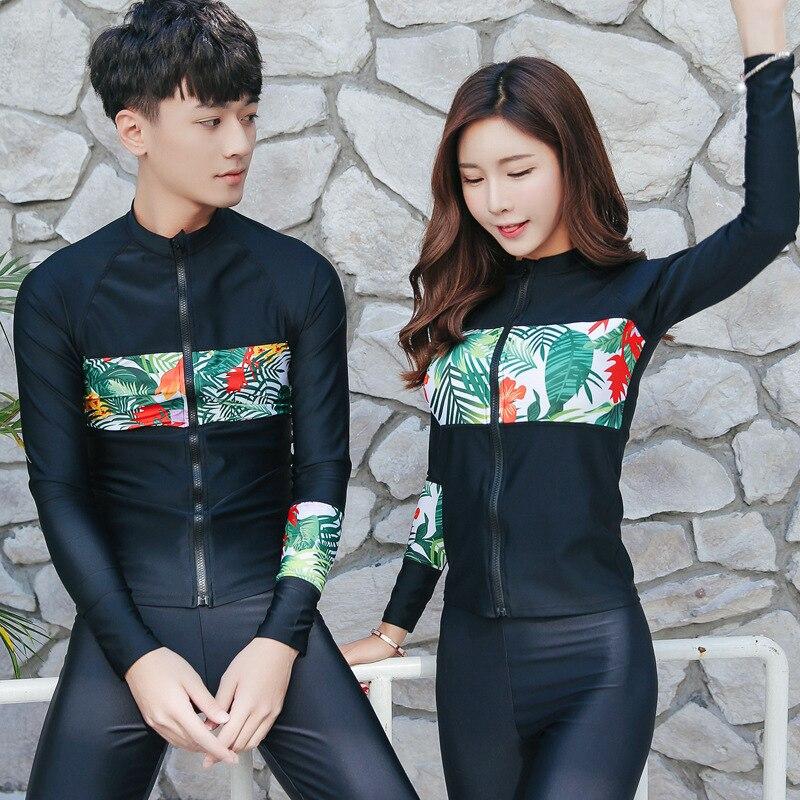 Korean Style Beach Long Sleeve Lycra Swimming Tops & Surf Diving Pants Men Women Sun UV Protection UPF 50+ Swimwear Rash Guard