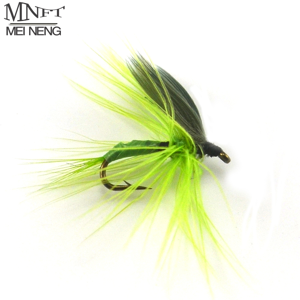 MNFT 10PCS [16#] Green Quill Dry Fly May fly Nymph for Fly Fishing Trout Bream Pan Fish mnft 10pcs 14 plastic golden bead head nymph fly larva flies brim perch baits small bugs for trout bream blue gill fly fishing