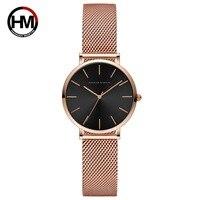Hannah Martin Fashion Luxury Women Watches Rose Gold Stylish Ladies Watches Quartz Wristwatches relogio feminino Clock Gift Box