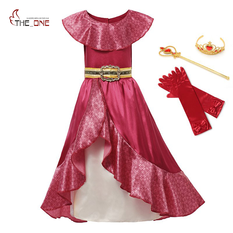 MUABABY Girl Elena of Avalor Adventure Dress up Children Summer Princess Cosplay Costume Girls Sleeveless Ruffles Classic Dress ems dhl free shipping toddler little girl s 2017 princess ruffles layers sleeveless lace dress summer style suspender