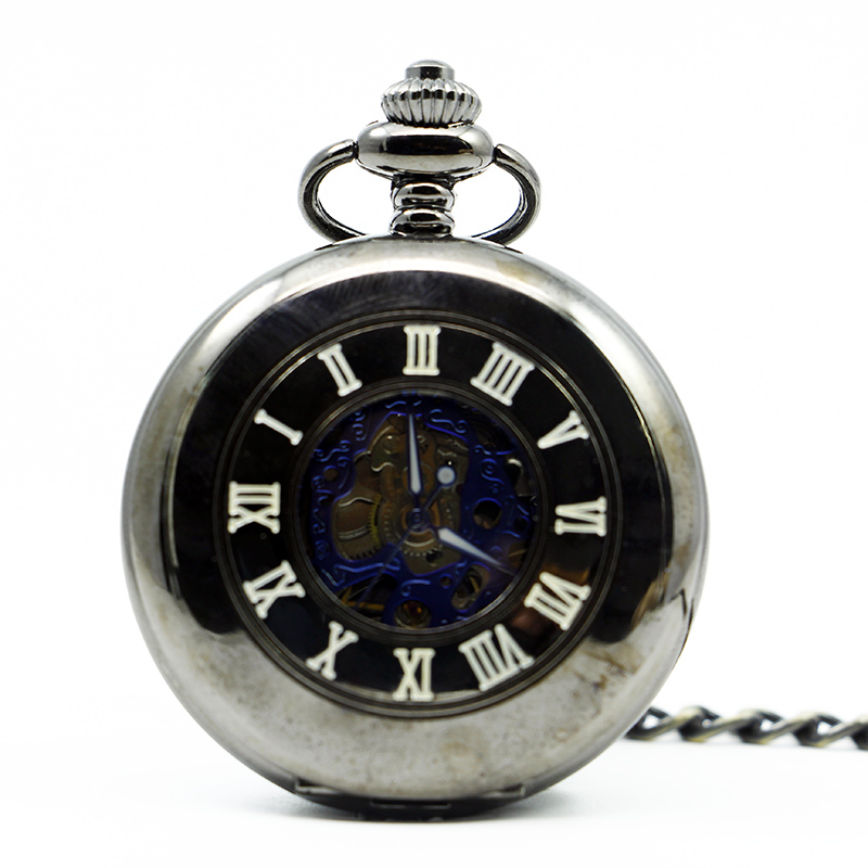 Luxury Vintage Steampunk Clock Mechanical Pocket Watches Pendant Necklace Women Smooth Case Pendant Automatic PJX1263