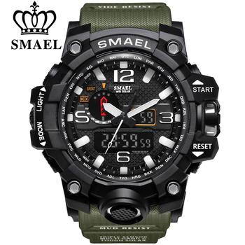 Marka smael mężczyźni sport zegarki podwójny wyświetlacz analogowy cyfrowy LED elektroniczny zegarek kwarcowy wodoodporny pływanie zegarek wojskowy tanie i dobre opinie 22cm QUARTZ 3Bar Klamra Z tworzywa sztucznego 17mm Akrylowe Kwarcowe Zegarki Na Rękę Nie pakiet 48mm SL-1545-10 21mm ROUND