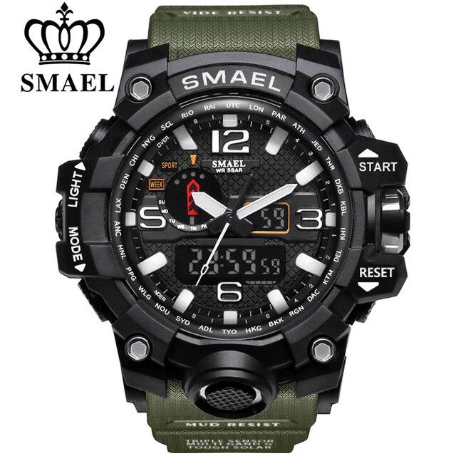 Relojes deportivos de marca SMAEL para hombre con doble pantalla analógica Digital LED relojes de pulsera de cuarzo electrónicos reloj militar de natación impermeable