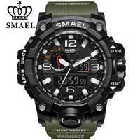 SMAEL, Брендовые мужские спортивные часы, двойной дисплей, аналоговый цифровой светодиодный, электронные кварцевые наручные часы, водонепрон...