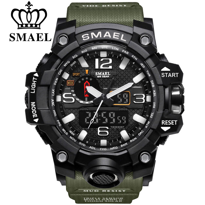 SMAEL מותג גברים ספורט שעונים אנלוגי תצוגה כפולה דיגיטלי LED אלקטרוני קוורץ שעוני יד עמיד למים שחייה צבאי שעון