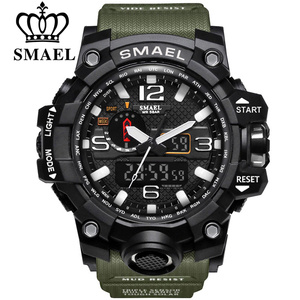 SMAEL Brand Men Sports Watches Dual Display Analog Digital LED Electronic Quartz Wristwatches Waterproof Swimming Military Watch(China)