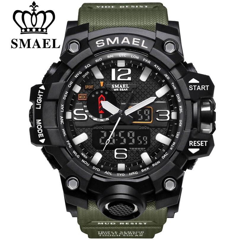 SMAEL Marke Männer Sport Uhren Dual Display Analog Digital LED Elektronische Quarz Armbanduhren Wasserdicht Schwimmen Military Uhr
