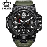 SMAEL Brand Men Sports Watches Dual Display Analog Digital LED Electronic Quartz Wristwatches Waterproof Swimming Military