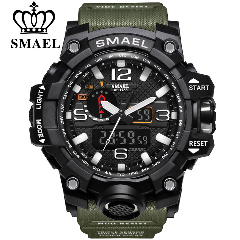 SMAEL-sportowe zegarki z podwójnym wyświetlaczem dla mężczyzn, zegarek kwarcowy, wyświetlacz cyfrowy LED i analogowy, wodoszczelny, militarny