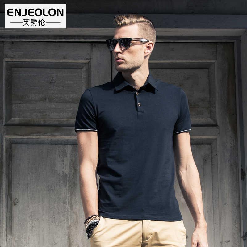 Enjeolon verão camisa polo 2019 marca masculina moda algodão manga curta camisas polo masculino sólido camisa respirável topo t t1687
