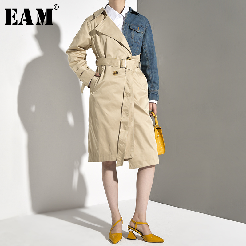 [EAM]2019 New Fashion Stripe Patchwork Sashes Back Striped Windbreaker Long Section Turn-down Collar Personality Clothes Coat BD