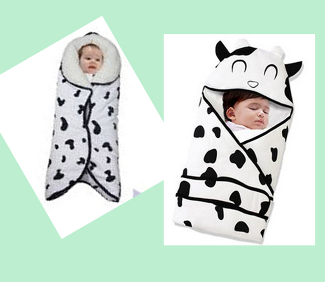 Newborn baby Cow pattern pack blanket 100% cotton sleeping bag winter prop swaddle wrap inbakeren mantas para bebe