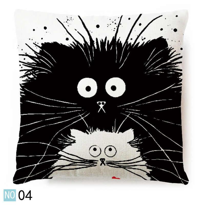 Baru Panas Vintage Putih dan Hitam Kucing Anjing Katun Lucu Bantal Sofa Pinggang Melempar Bantal Cover Rumah Mobil Decor