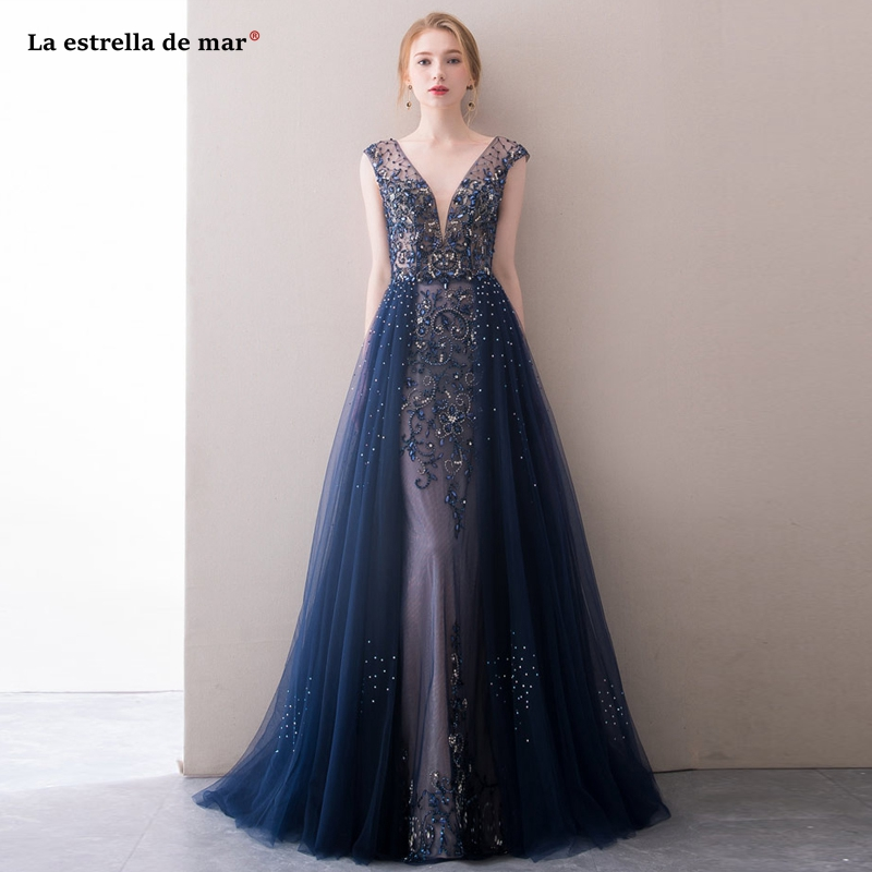 Mezuniyet elbiseleri2019 new tulle crystal luxury sexy V neck cap sleeve A Line navy blue   prom     dresses   long gala jurken beautifu