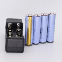 4pcs protected ICR18650-32A 3200mah Rechargeable Li-ion 3.7v Battery For samsung flashlights led torch + charger