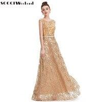 SOCCI 2017 Vintage Gold Embroidery Evening Dresses A Line O Neck Built In Bar V Back