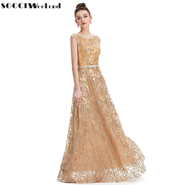 0310212303653 US $55.99 30% OFF|SOCCI Vintage Gold Embroidery Evening Dress long Sequined  V Back Lace Up Modest Formal Prom Party Wedding Gowns abendkleider new-in  ...