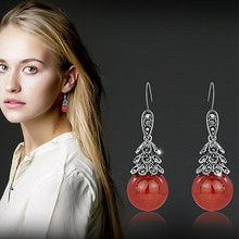 XIAO YOUNG Vintage Red Green Stone Beads Drop Earrings Wedding Party Earring Jewelry For Women Fine Gift Wholesale