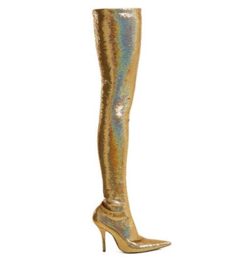 Mince Pic Soirée Bout as Stretch Bottes Ruban Mode Talons As Chaussures Tissu Date Womanr Or Pointu Femmes De Pic Hauts Bling Sexy fPww14q
