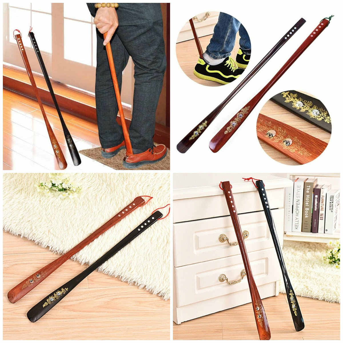 Wooden Long Handle Shoe Horn Lifter Shoehorn New Arrival 55 Cm Ultra Long Mahogany Craft Wenge Wooden Shoe Horn Professional