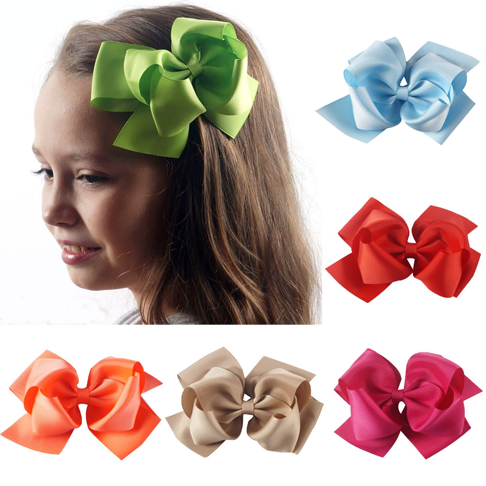 2 Pieces/lot 6 Large Hair Bows With Clips For Girls Kids Fashion Handmade Grosgrain Ribbon Bows Hairgrips Hair Accessories 2pcs lot printed crown hair bows layered grosgrain ribbon hairbow for kids girls hairgrips handmade hair accessories