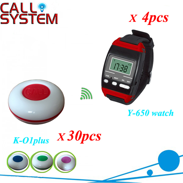 CE Wireelss Restaurant Waiter Calling System 30 table call button and 4 watch pager y-650 433mhz free shipping tivdio 4 watch receivers 30 call pager wireless waiter calling system 999 channel rf for restaurant pager f4413b