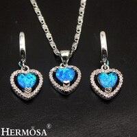 Hermosa Australian Fire Opal Sets 925 Sterling Silver Earrings Pendant Necklace Heart Shape Wedding Jewelry Pretty Love Gift