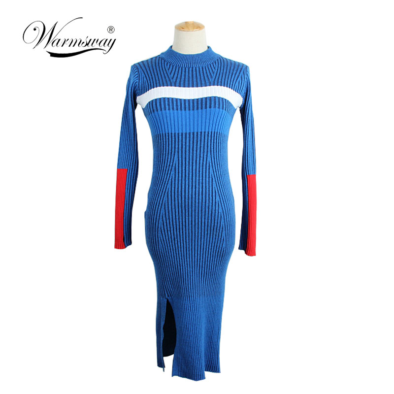 Warm and Charm Women Sweater Dress Fall Winter Long Sexy Bodycon Split Dresses Elastic Striped Skinny Knitted Dress C-066 все цены