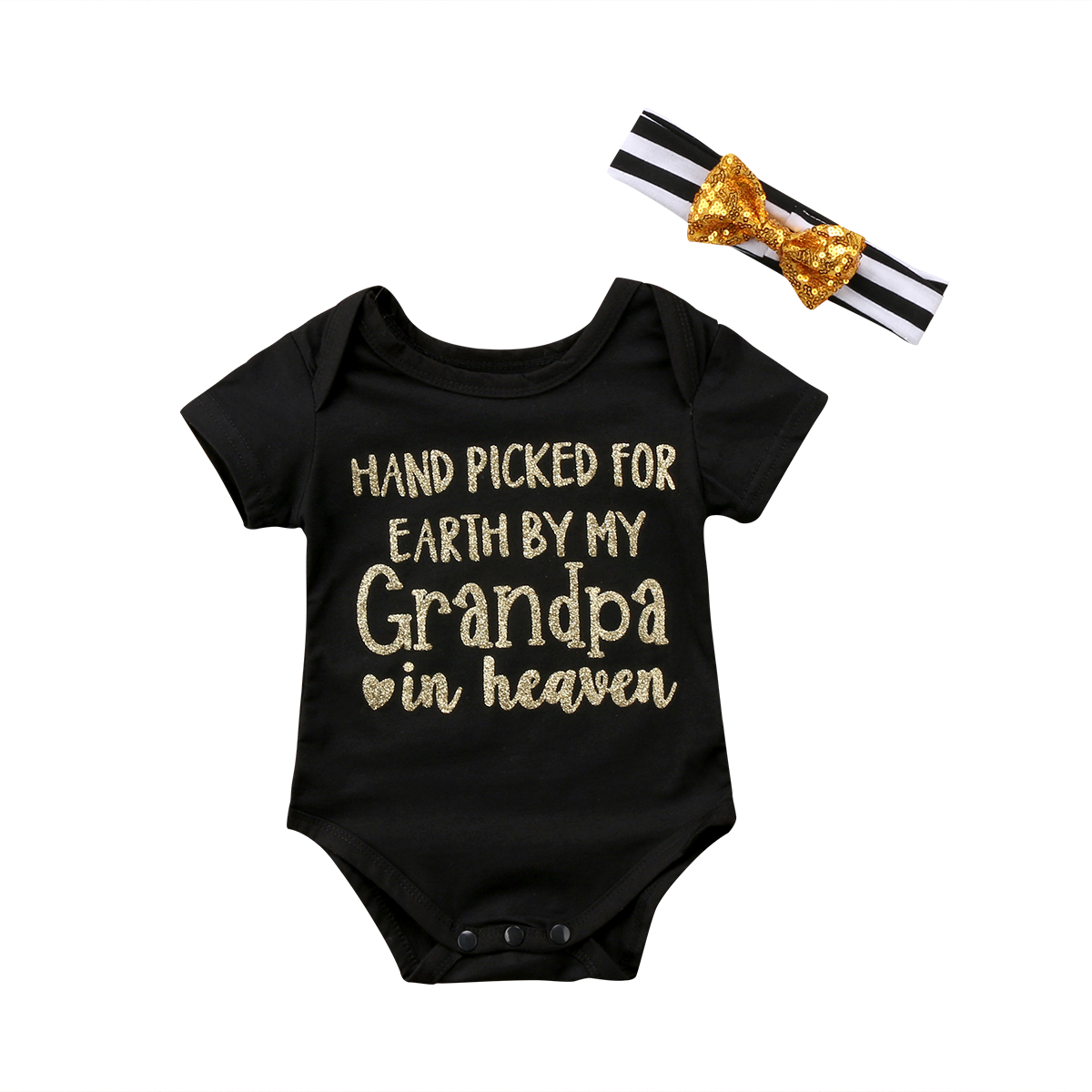 Cute Newborn Baby Girls Short Sleeve Romper Grandpa Grandma Letter Printing Playsuit Sunsuit+Striped Headband Outfit Clothes