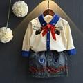 Девушки вышивка юбка + пчелы цветочный ковбой одежда костюмы зима девочек одежда 3-7 лет детская одежда