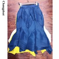 Changpleat 2019 Spring summer New Women Bud skirts Miyak Pleated Fashion Solid elastic waist Loose Large Size Female Skirt Tide