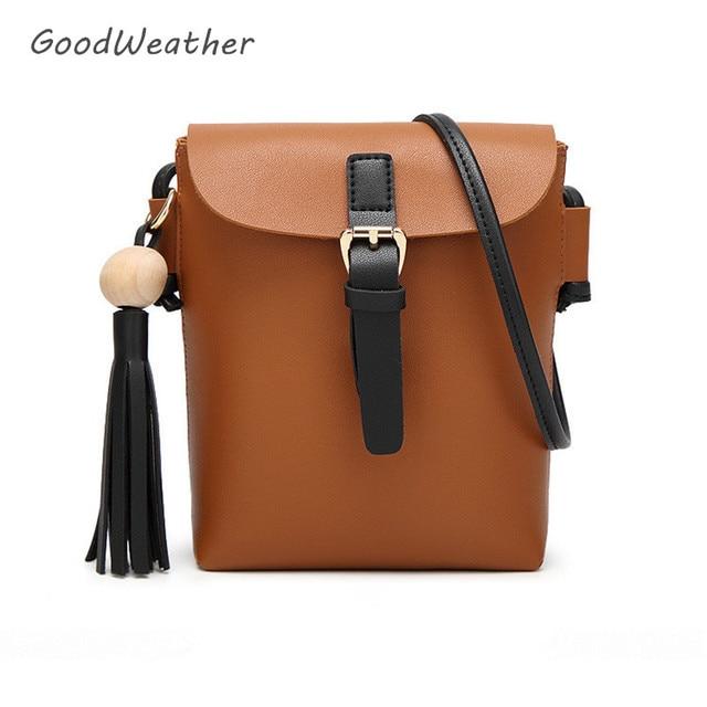 02e2cf5064605 Designer kleine quaste frauen handtasche crossbody braun PU wasserdicht  freizeit eimer taschen über schulter damen geldbörsen