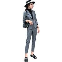 Костюм в полоску пиджак офис корейский стиль блейзер Feminino Slim Fit твидовый Блейзер Ceket Баян Giacche Donna Eleganti пиджак C233